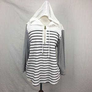 Jones New York White/Black Stripe Hooded Tunic